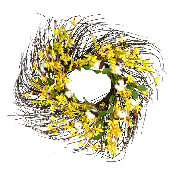 12-Pack, Wrapped Twig Silk Forsythia Cotton Wreath, Yellow, 22-Inch