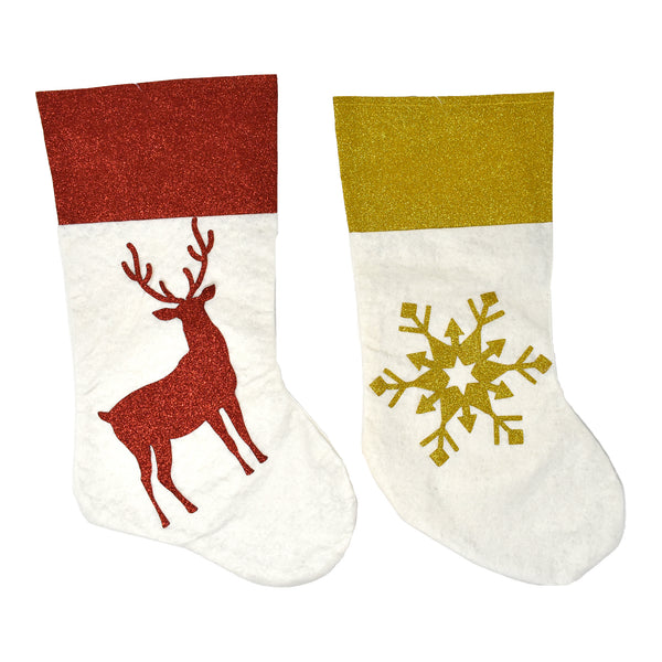 Christmas Glitter Reindeer and Snowflake Stockings, 17-Inch, 2-Piece