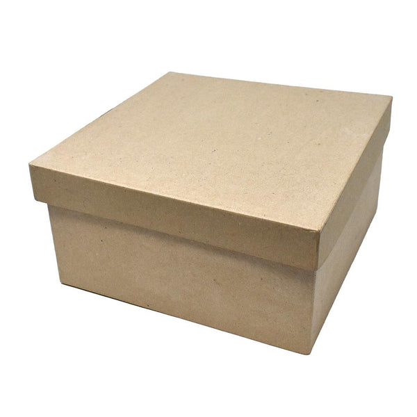 DIY Paper Mache Square Gift Box, Natural, 9-Inch