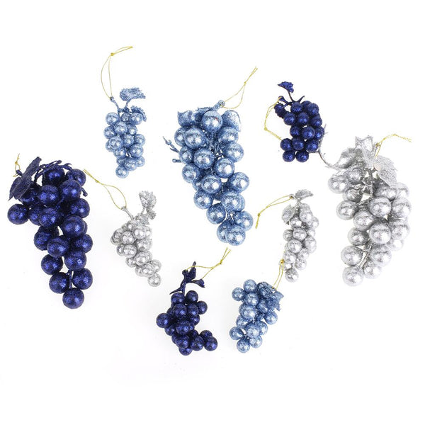 12 Pack, Glitter Grape Clusters Assorted Plastic Christmas Ornaments, Blues, 9-Piece