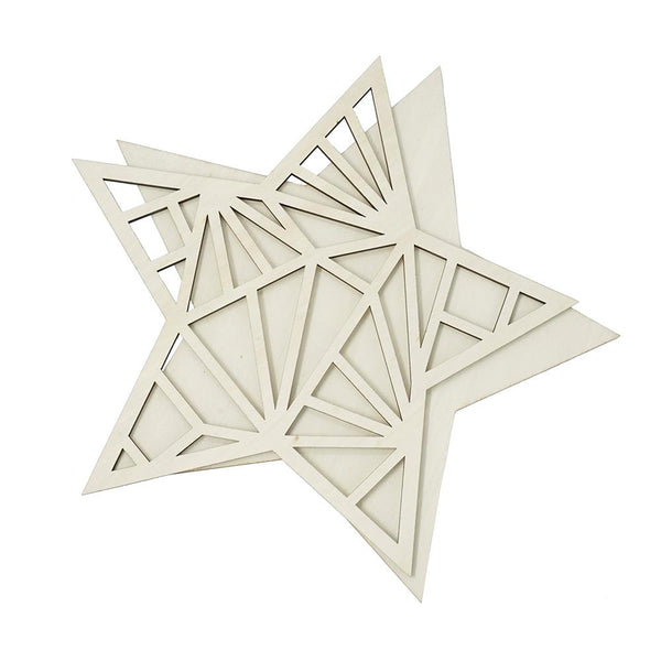 Wood Star Craft Pattern Shapes, Natural, 2-Piece