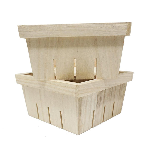 Mini Wood Decor Baskets, Natural, 6-1/4-Inch, 2-Count