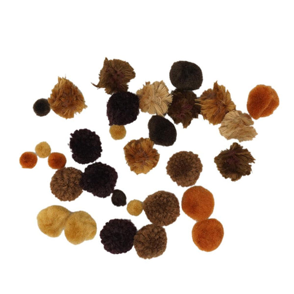 Colorful Craft Pom Poms Mix, Assorted Sizes, 30-Piece, Brown