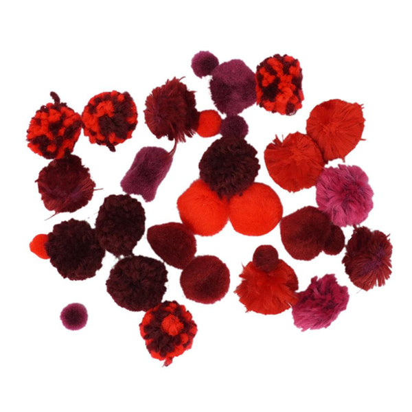 Colorful Craft Pom Poms Mix, Assorted Sizes, 30-Piece, Red