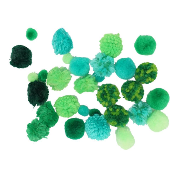 Colorful Craft Pom Poms Mix, Assorted Sizes, 30-Piece, Green
