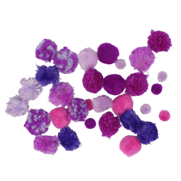 Colorful Craft Pom Poms Mix, Assorted Sizes, 30-Piece, Purple
