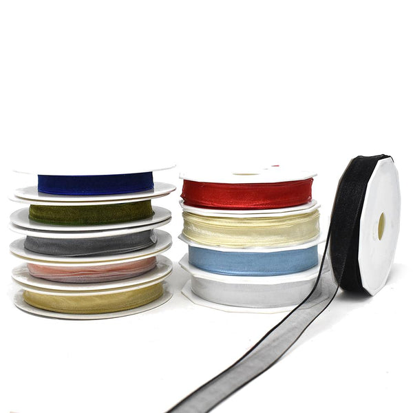 12-Pack, Sheer Organza Curling Wired Ribbon, 5/8-Inch, 27-Yard