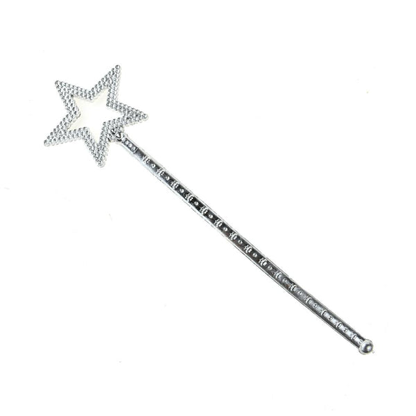 12-Pack, Little Princess Star Printed Scepter, Silver, 12-1/2-Inch
