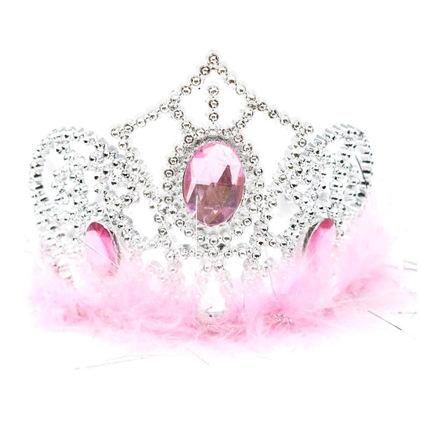 12 Pack, Plastic Princess Gemstone Tiara with Boa, Silver/Pink, 4-1/2-Inch