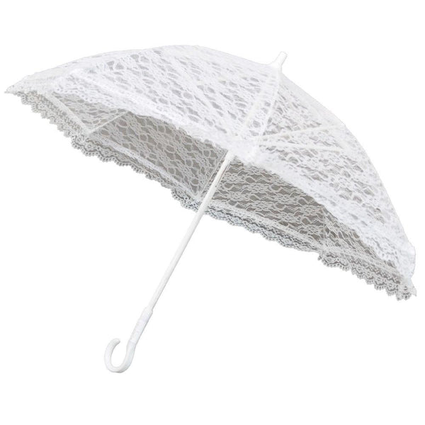 White Lace Parasol Umbrella Bridal Accessories, 15-Inch