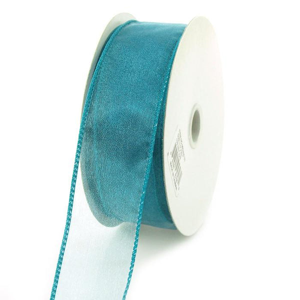 12-Pack, Sheer Chiffon Ribbon Wired Edge, 1-1/2-inch, 25-yard, Teal