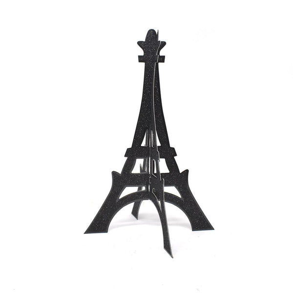 3D Glittered Eiffel Tower Stand, Black, 12-Inch