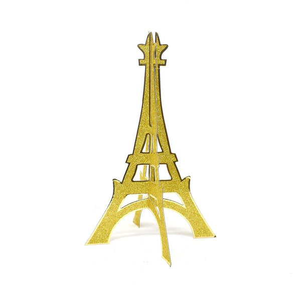 3D Glittered Eiffel Tower Stand, Gold, 12-Inch