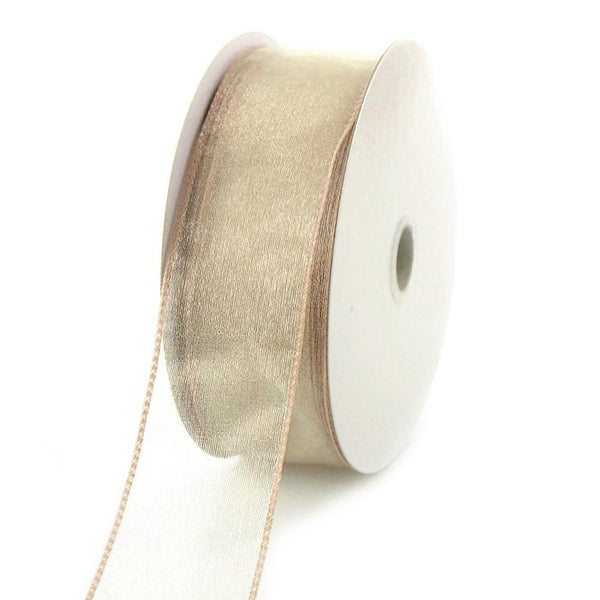 12-Pack, Sheer Chiffon Ribbon Wired Edge, 1-1/2-inch, 25-yard, Toffee