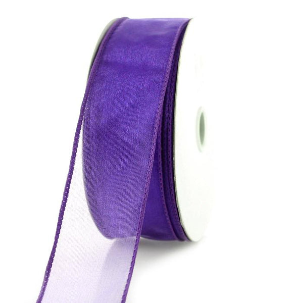 Sheer Chiffon Ribbon Wired Edge, 1-1/2-inch, 25-yard, Eggplant