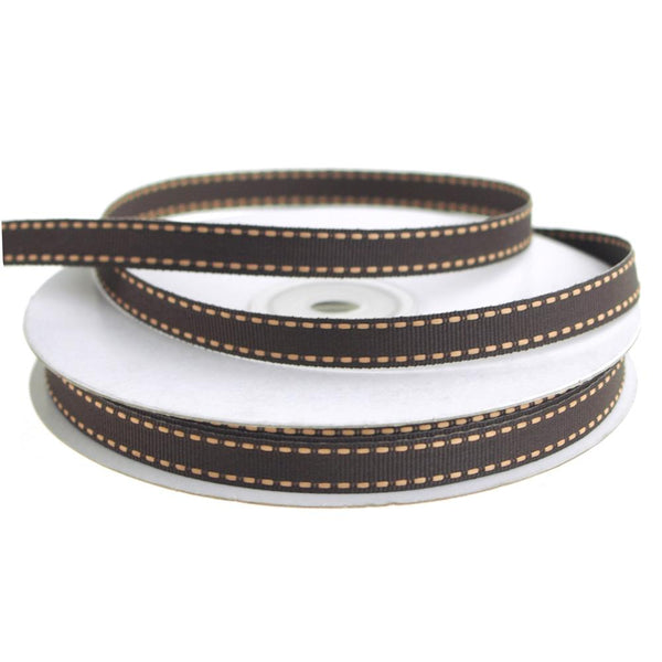 Saddle Stitch Border Grosgrain Ribbon, 3/8-Inch, 25 Yards, Chocolate/Khaki