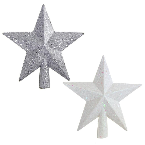 Glitter Star Plastic Christmas Tree Topper, White/Silver, 8-Inch, 2-Piece