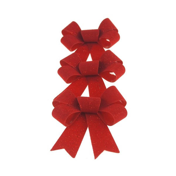 Christmas Red Plastic Bow with Glitter, 4-inch, 3 Count