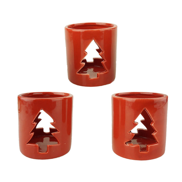 Ceramic Tree Candle Holders, Red, 3-1/4-Inch, 3-Count