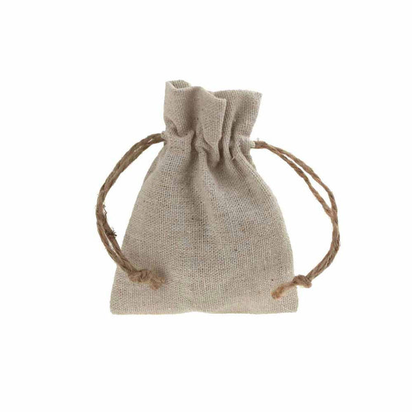 Natural Linen Favor Bags with Jute Drawstring, 3-Inch x 4-Inch, 12-Piece