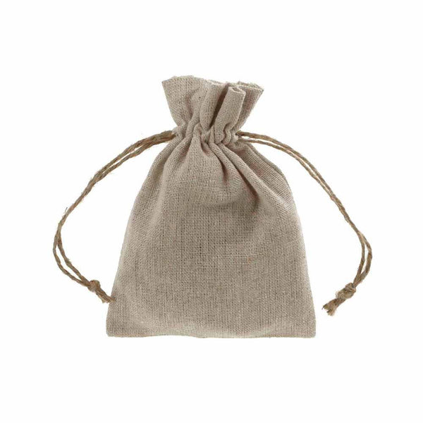 Natural Linen Favor Bags with Jute Drawstring, 3-Inch x 5-Inch, 12-Piece