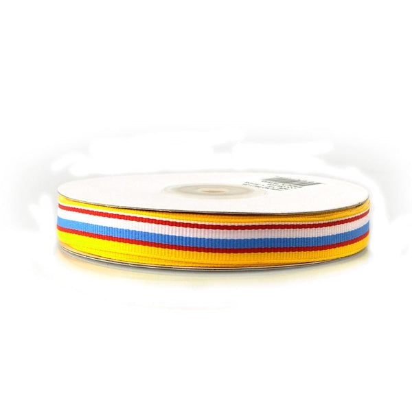 12-Pack, Rainbow Striped Grosgrain Ribbon, 5/8-inch, 25-yard, Red/Yellow/Blue/White