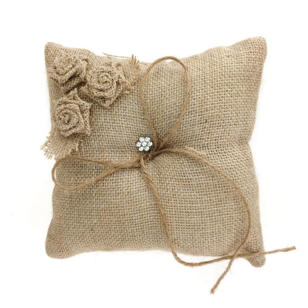12 Pack, Burlap Roses and Rhinestone Ring Bearer Pillow, 7-Inch, Natural