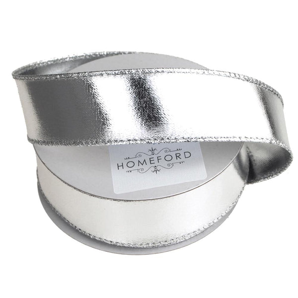 Metallic Lame Christmas Ribbon Wired Edge, 1-1/2-Inch, 10 Yards, Silver