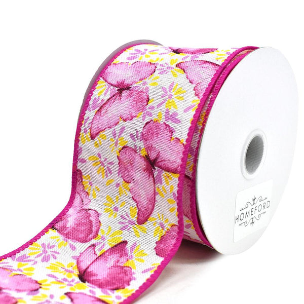 Butterflies and Flowers Linen Wired Edge Ribbon, Pink, 2-1/2-Inch, 10-Yard