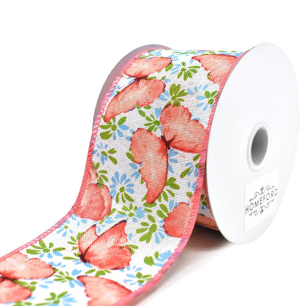 Butterflies and Flowers Linen Wired Edge Ribbon, Coral, 2-1/2-Inch, 10-Yard