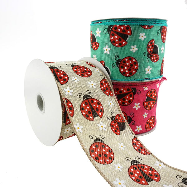10 Yards 2-1//2-Inch Lady Bug Print Canvas Ribbon Wired Edge