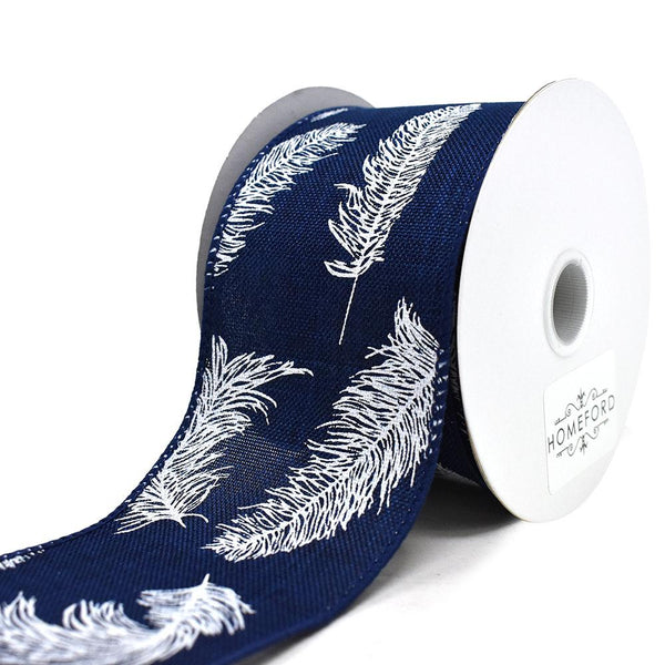 Feathers Linen Wired Ribbon, Navy, 2-1/2-Inch, 10-Yard