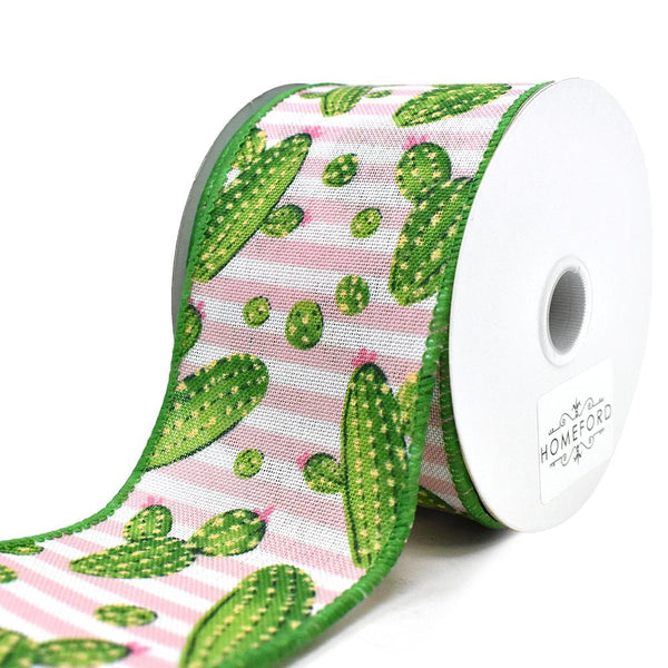 Cactus and Stripes Linen Wired Ribbon, Pink, 2-1/2-Inch, 10-Yard