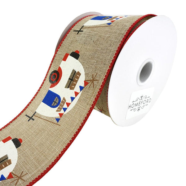 Colorful Camper Wired Linen Ribbon, Red, 2-1/2-Inch, 10-Yard