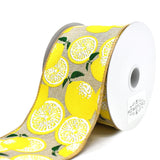 Lemons Linen Wired Edge Ribbon, 2-1/2-Inch, 10-Yard