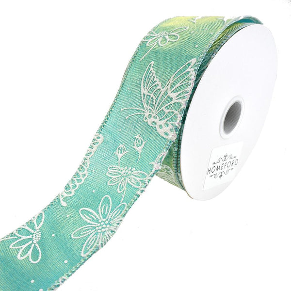 Iridescent Butterflies 2-Toned Satin Wired Ribbon, Blue/Green, 1-1/2-Inch, 10-Yard