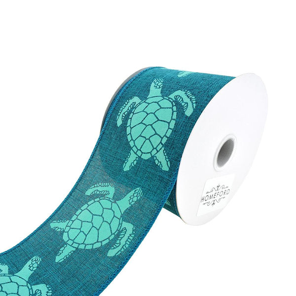 Sea Turtle Wired Ribbon, Teal, 2-1/2-Inch, 10-Yard