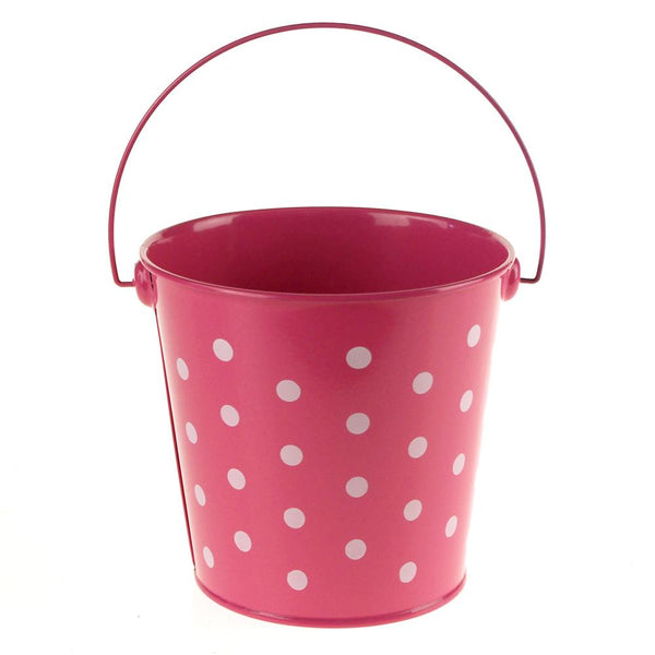 Polka Dot Metal Pail Bucket Party Favor, 5-Inch, Hot Pink
