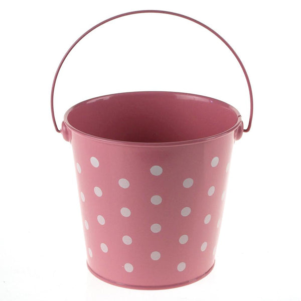 Polka Dot Metal Pail Bucket Party Favor, 5-Inch, Light Pink