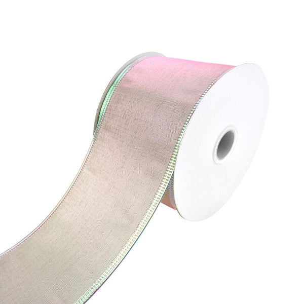 Two Toned Iridescent Satin Wired Ribbon, 2-1/2-Inch, 10-Yard, Mint/Pink