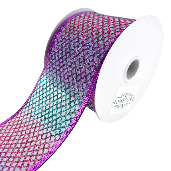 Mermaid Glitter Net Wired Ribbon, 2-1/2-Inch, 10-Yard