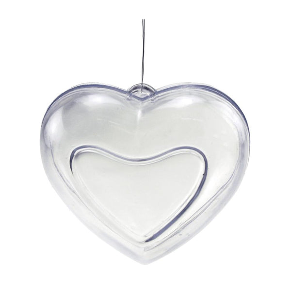 Fillable Plastic Clear Heart Ornament, 3-3/4-Inch, 12-Piece