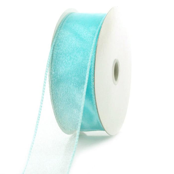 Sheer Chiffon Ribbon Wired Edge, 1-1/2-inch, 25-yard, Aqua