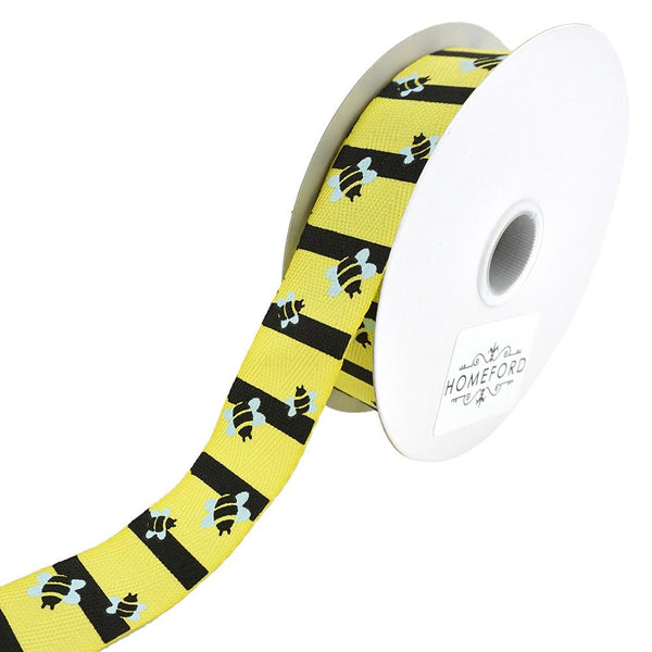 12-Pack, Bumblebee Striped Grosgrain Wired Ribbon, Yellow, 7/8-Inch, 10-Yard