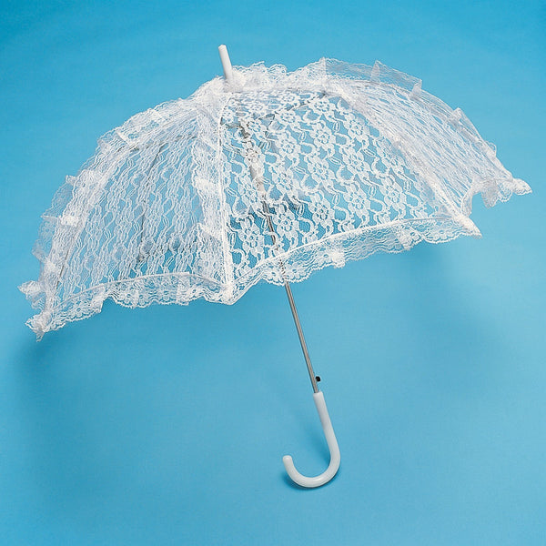 12-Pack, White Lace Parasol Umbrella Bridal Accessories