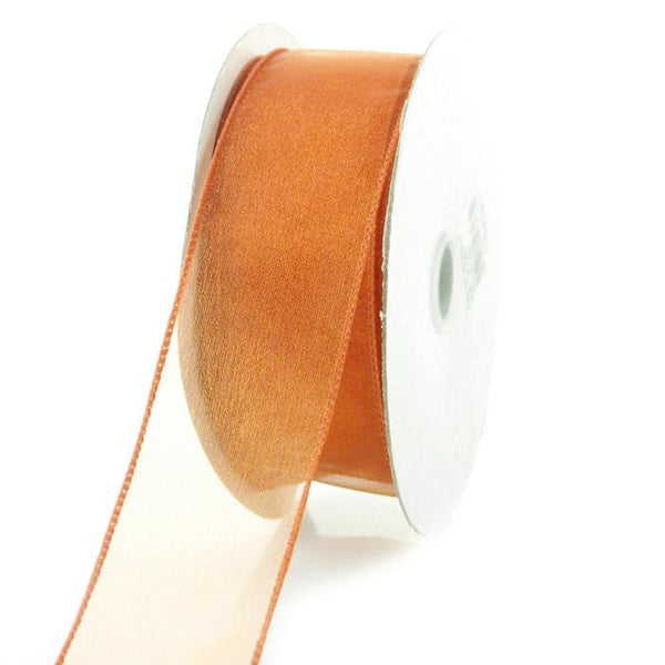 Sheer Chiffon Ribbon Wired Edge, 1-1/2-inch, 25-yard, Copper