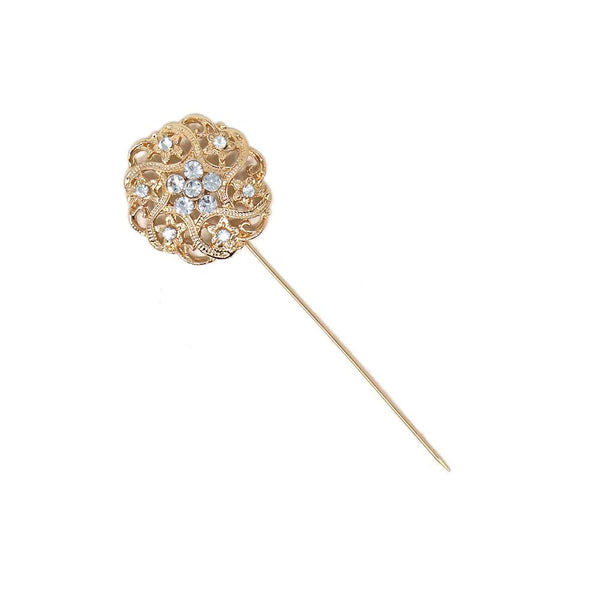 Rhinestone Floral Pin, Gold, 1-1/4-Inch, 6-Count