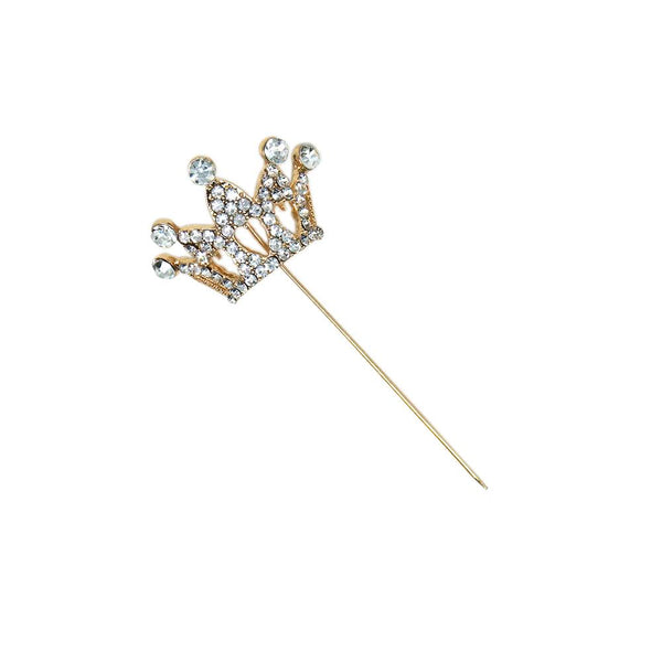 Rhinestone Crown Pin, Gold, 1-1/4-Inch, 4-Count