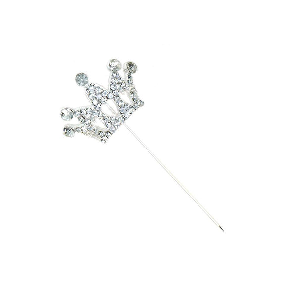 Rhinestone Crown Pin, Silver, 1-1/4-Inch, 4-Count