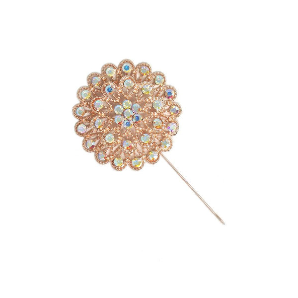 Rhinestone Floral Pin, 2-1/4-Inch, 3-Count
